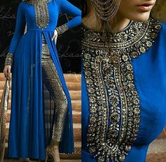 Bollywood fashion 727261039807564429 - Nakkashi Georgette Semi Stitched Designer Suit In Blue Colour Source by perledesoit Pakistani Couture, Indian Couture, Pakistani Outfits, Indian Outfits, Pakistan Fashion, India Fashion, Asian Fashion, Indian Attire, Indian Wear