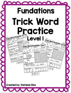 This product correlates with Level 1 trick words in the Fundations program. Students can enjoy completing different activities with each word. The words are organized by units. Level K and Level 2 are available now in my store. Level K Level 2 First Grade Words, First Grade Reading, First Grade Organization, Wilson Reading Program, Kindergarten Writing, Literacy, Reading Specialist, Sight Word Practice, Summer School