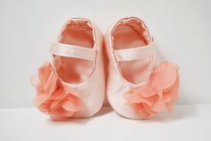 Pink satin baby shoes Classic Mary Janes by KELLSEYS on Etsy, $20.95