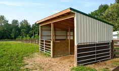 run-in-shed. I like the gates there in case the horse needs put up for any reason Horse Shed, Horse Barn Plans, Horse Stalls, Horse Run In Shelter, Simple Horse Barns, Field Shelters, Horse Barn Designs, Goat Barn, Run In Shed