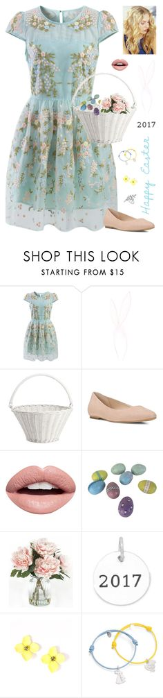 """Happy Easter 2017!"" by kateindie ❤ liked on Polyvore featuring Chicwish, claire's, Pottery Barn, Dr. Scholl's, Nevermind, Home Decorators Collection, Merci Maman and Allurez"