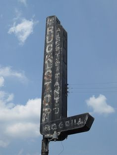 Sign for an abandoned truck stop.
