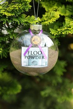 Harry Potter Christmas ornament from an Etsy shop - floo powder. I love this! It just needs a little glitter ;)