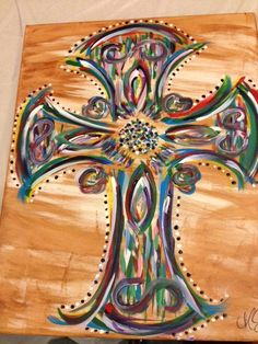 Handpainted crosses on canvas.