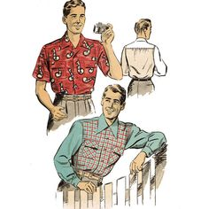 1940s Vintage Mens Shirt Pattern Advance 3968 by JFerrariDesigns, $15.00
