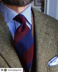 "hnwlondon: ""Our block stripe Mogador worn by @hannobepunkt. #hnwhite #handmadeinengland #macclesfield #wool #silk #grenadine #menswear #style #sprezz #sprezzatura #fashion #follow #beautiful #ties..."