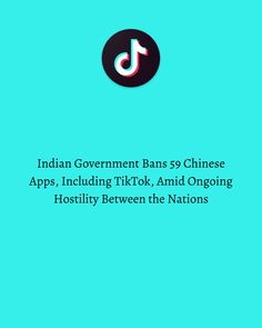 The Indian Government has dealt a major blow to TikTok, banning it, along with many other Chinese apps, due to ongoing tensions between the nations. Indian Government, Social Media Marketing, Apps, Chinese, Photo And Video, Digital, Instagram, App, Appliques