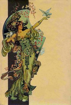 Art Nouveau-style illustration, probably by the artist Alphonse Mucha. Nouveau = long lines, nature, and general elfishness. :p Change doves to bat and owl for tattoo Art Nouveau Mucha, Art Nouveau Poster, Art Nouveau Design, Alphonse Mucha, Jugendstil Design, Art Nouveau Illustration, Wow Art, Art Plastique, Oeuvre D'art