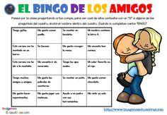 """Actividad inicial para los primeros días de clase """"El BINGO DE LOS AMIGOS"""" 2018 - Imagenes Educativas Bingo, Comics, Words, First Day, Initials, One Day, Girlfriends, Activities, Comic Book"""