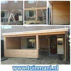 Nog niet helemaal af...maar hier kunt u het verloop zien van de montage van deze prachtige veranda terrasoverkapping afdak overkapping gemaakt van lariks. Natuurlijk ook verkrijgbaar in aluminium of geïmpregneerd hout. #tuinmani @tuinmani www.tuinmani.nl