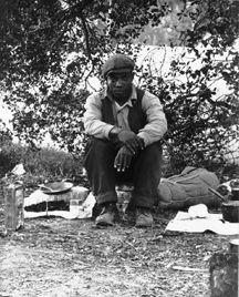Camp of single men by roadside, (Detail) Nipoma, CA, Jan. 1935. B.L./L.C.; 8062E