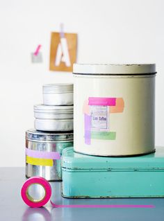 Washi taped tins