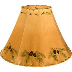 Marvelous Inecone Boughs Hand Painted Rawhide Sheepskin Leather Lampshade 7 Sizes  Rustic Cabin Lodge Lighting Lamp Shade Fosskin Foss Lampshades Made In Usa  Genuine ...