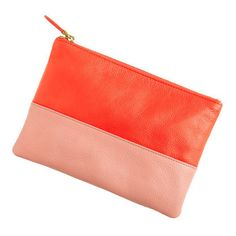 this leather colorblock pouch will work with any light toned outfit, see for yourself!