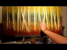 This is gorgeous! How to Paint Birch Trees - step by step - YouTube