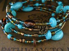Beaded Memory Wire Bracelet Multi Strand Brown by SlightlyWired~<3