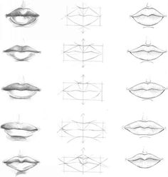 how to draw lips step by step with pencil | frontal view quarters view analysis of mouths in three consecutive ...