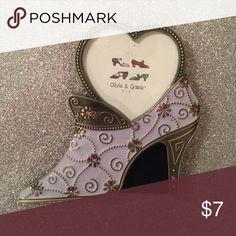 Decorative shoe photo frame Decorative shoe photo frame. Holds 3x3 photo. Other