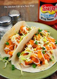 'Buffalo Chicken Tacos'   Source: Mrs. Regueiro     Ingredients     1 pound boneless skinless chicken breasts, cut into 1 inch piec...