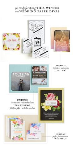 Spring + Summer Collection from Wedding Paper Divas + A Giveaway!  Read more - http://www.stylemepretty.com/2013/12/07/spring-summer-collection-from-wedding-paper-divas-a-giveaway/