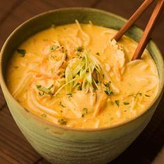 Thai Coconut Curry Soup Recipe Soups, Main Dishes with coconut milk, curry paste, cilantro, chicken breasts, chicken broth, carrots, lime leaves, lemon grass, fish sauce, lime, ginger, beansprouts, rice noodles, cilantro leaves, green onions, salt