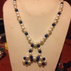 #collana in finte #perle e #pietre dure in azzurro.  Info@oro18.eu #oro18 #jewelry #bigiotteria #bijoux Presto su www.oro18.eu