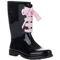 RED VALENTINO LACE-UP RAIN BOOT BLACK RUBBER ❤ liked on Polyvore
