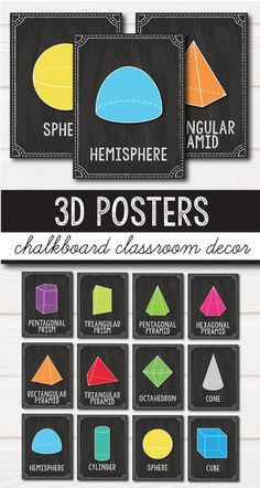 """3D Shape Posters - Chalkboard Classroom Decor theme perfect for kindergarten, fist grade and 2nd grades, plus the texts are editable. This set includes ideas and labels for your vintage decorations, colorful clipart, classroom jobs, calendars and more that will make teaching much easier this school year. Your students will love the fun frames, the growth mindset quotes posters and learning in your """"old"""" decor classroom. #chalkboard #classroomdecor #editable #labels #theme"""