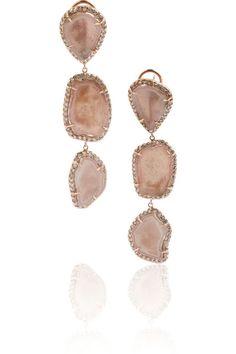 Kimberly McDonald 18-karat rose gold, geode and diamond drop earrings