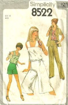 Simplicity 8522 1970s Misses Culottes, Pants, Shorts, Top and Jacket Pattern Womens Vintage Sewing Pattern  by patterngate.com