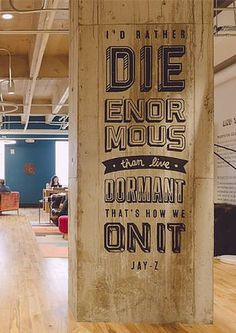 Jay-Z song lyrics on the wall at WeWork Congress