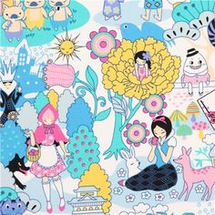 kawaii Japanese Anime fairy tale fabric blue Snow White (per 0.5 yard multiple)