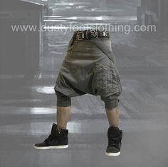 Gray Sarouel Harem Pants Low Crouch Burning Man Goa Pirate Elf Asymetrical Belts Alibaba Urban Punk Goth Trousers  Trash