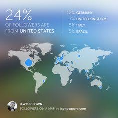 Geo statistics - followers of @wiseclown on IG