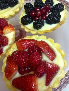 A sweet tart shell with pastry cream filling, fresh berries, drizzled with honey. All from scratch !