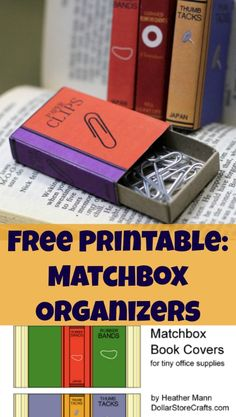 Free printable - turn dollar store matchboxes into cute office supply organizers! Such a cute craft idea and easy tutorial.