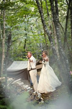 Bow Hunting Wedding Pics - two animal killers starting a new life by proudly displaying their killing techniques? what is wrong with people? maybe they'll have a spat and kill each other?