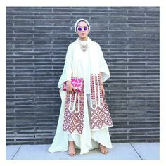 """""""Ascia is at NYFW with her new campaign where she is working alongside local Arab Designers. This look of hers features Hamsa and Amandanavai…"""" Abaya Style, Hijab Style, Turban Style, Hijab Chic, Modest Wear, Modest Dresses, Modest Outfits, Islamic Fashion, Muslim Fashion"""