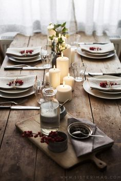 Table decoration with block candles, for Christmas. Table decoration with block candles, for Christm Christmas Table Settings, Christmas Table Decorations, Decoration Table, Christmas Candles, Outdoor Christmas, Christmas Lights, Wine Dinner, Dinner Table, Vegan Wine