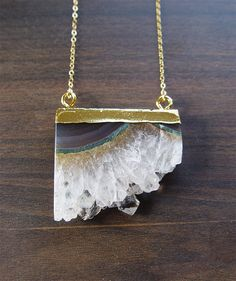 White Amethyst Stalactite Gold Necklace OOAK by friedasophie