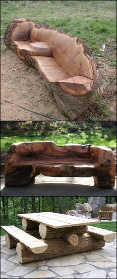 Unique Furniture Made From Tree Stumps And Logs   Aside from their beauty, what makes these pieces of furniture astonishing is that it takes great woodworking skills and talent to make one! Agree?