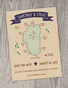 Printable Digital File - Lake Tahoe Map Save the Date Card - Customizable - Wedding, Shower, Squaw Valley, Hand-drawn, California