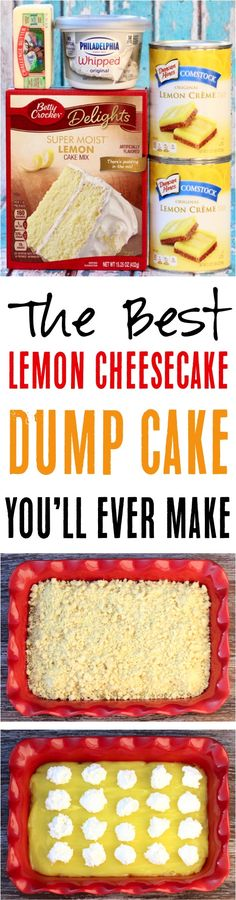 Such a delicious, citrusy dessert you… Easy Lemon Cheesecake Dump Cake Recipe! Such a delicious, citrusy dessert you'll love. The best part is that it's only 4 ingredients! Lemon Desserts, Köstliche Desserts, Lemon Recipes, Sweet Recipes, Delicious Desserts, Yummy Food, Tasty, Homemade Desserts, Easy Lemon Cheesecake