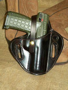 Pancake holster for a Kel-tec PMR30 pistol made at Boulder Creek Saddle Shop, Kettle Falls, WA
