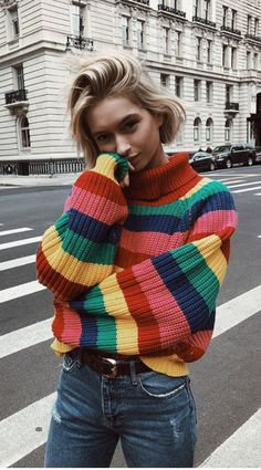 Colourful Stripe Knitting Women Sweater Sweet Turtleneck Loose Long Sleeve Pullover Sweaters M Fashion Male, 80s Fashion, Vintage Fashion, Fashion Outfits, Fashion Trends, Fashion 2018, 80s Womens Fashion, Fashion Stores, Fashion Ideas