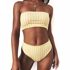 Freezing Athletic-two-piece-swimsuits 2018 Retro Women Sexy Bikini Yellow Striped Strapless Bandeau High Waist Swimsuit