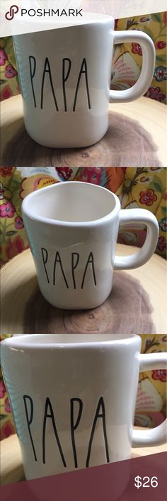 Rae Dunn Papa Mug. Big letter. Father's Day New Rae Dunn  Papa mug Father's Day  grandfather's day New no chips or cracks Secure shipping    Rae Dunn clay Ray dun Father's  Day Grandfather's day Gift Collector Coffee Display Farmhouse chic Black white Big letter mug Rae Dunn Other