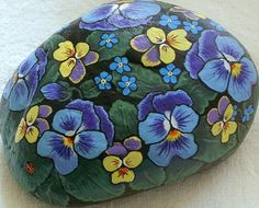 Pansy in shades of blue from my private reserve collection, johnny jump ups, painted rock by RockArtiste, $75.00