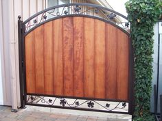 Ornamental Iron Frame for Wooden Gate Custom Gates, Wooden Gates, Iron Work, Bay Area, Home Projects, Stairs, Doors, Mirror, Fences
