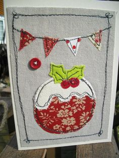 Christmas Cards Textile Cards machine by SewSweetbySuzanne on Etsy